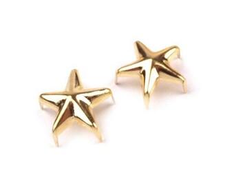 50 rivets stars metal spikes gold 10 mm