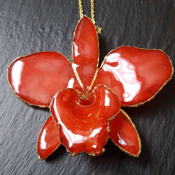 Real gold edged orchid cattleya sakura flower necklace in red