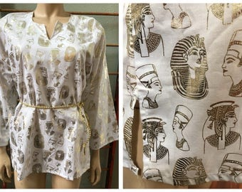 Cool White cotton blouse  / tunic with Gold Pharaoh print / small