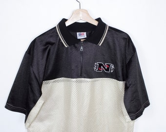 vintage nike esque bootleg polo jersey shirt - N AIR logo - black and gold mesh -  quarter zip