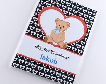 Baby Boy Valentine's Day Gift Valentine Photo Album 1st Teddy Bear heart Personalized Present 4x6 or 5x7 Pictures 827