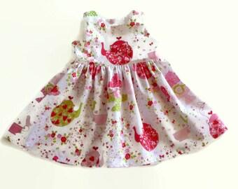 Girls tea party dress - baby tea party dress - infant floral dress - girl summer dress - first birthday dress - birthday dress - baby dress