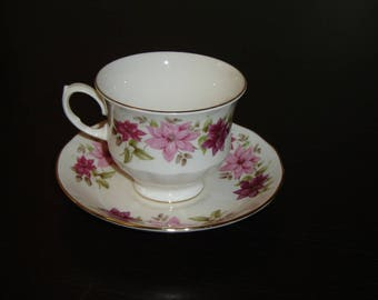 Queen Anne 8545 pink flower cup and saucer mint condition