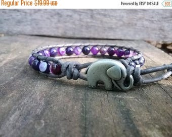 ON SALE Purple Agate - Beaded Leather Wrap - Elephant Bracelet - Boho Jewelry - Beaded Leather Wrap Bracelets for Women - Beaded Bracelet