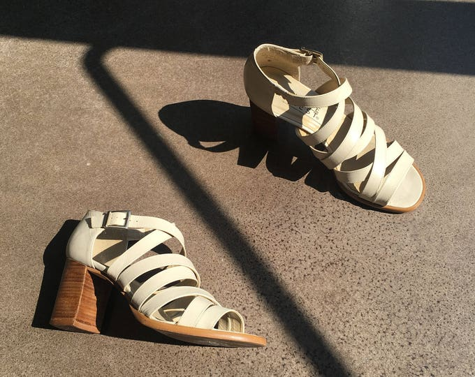 Featured listing image: Strappy White Leather Nine West 90's Sandals