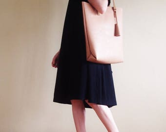 Minimal Soft Leather Tote with Tassel/ Day Bag/ Magazine Tote in Brown/ Black/ Beige