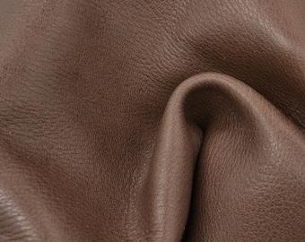 "Sea Lion Brown Leather New Zealand Deer Hide 12"" x 12"" Pre-Cut 3 1/2 ounces TA-56462 (Sec. 6,Shelf 6,A)"