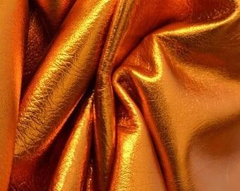 """Leather Cow hide Project Piece 3.2 sf Apricot Golden Nugget Metallic """"Vegas"""" 2 1/2-3 oz grainy DE-59702 (Sec. 7,Shelf 1,C)"""