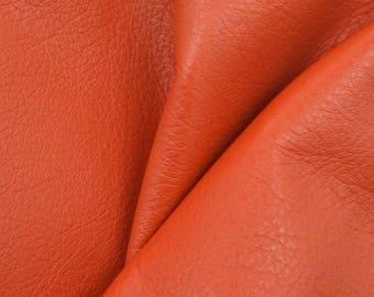 """Billowy Burnt Orange """"Signature"""" Leather Cow Hide 12"""" x 12"""" Pre-cut 2-3 oz DE-60534 (Sec. 8,Shelf 4,D)"""