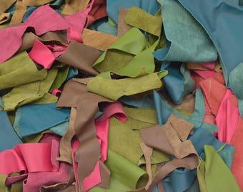 """Leather Scrap Cow Hide 1 pound Various """"Bold n Beachy"""" Collection Colors DE-66212 (Sec. 4,Shelf 1,D)"""