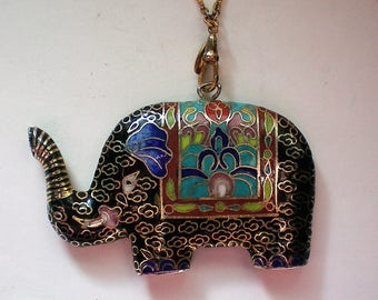 Cloisonné Enamel Elephant Pendant with Gold Gilt - 5387