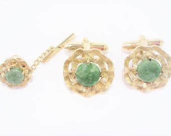 Mens Vintage Green Agate Cufflink Tie Tac Set