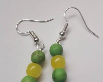 Simple Green drop earrings, bohemian jewellery, dangly earrings, yellow neon earrings, beaded earrings, small green dangly earrings,