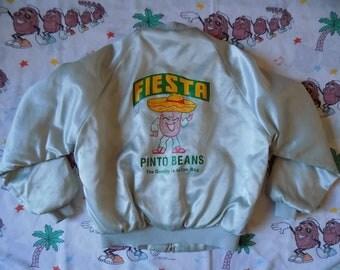 Vintage 80's Fiesta Pinto Beans Satin Bomber Jacket, size Medium funny random Promo