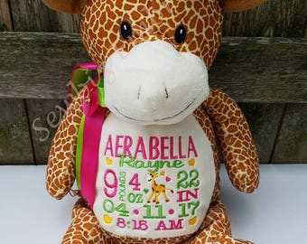 Personalized Baby Gift, Stuffed Animal, Giraffe Stuffed Animal, Monogrammed Stuffed Animal,Birth Announcement Stuffed Animal