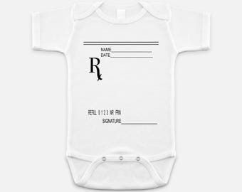 Rx Prescription Pad Graphic Baby Bodysuit with Custom Lettering - Unique Gift for Doctors, Pharmacist, Dentist, Nurse and more!