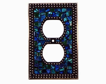 Mosaic Outlet Plate - Electrical Outlet Cover - Outlet Cover - Blue Outlet Cover - Light Cover - Silver Switch Plate