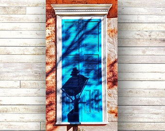 New Orleans Art - BLUE SHADOW - Doors - Architecture - Photography -Doors-Shutters- Historic Building- Birch Boxes- Wood