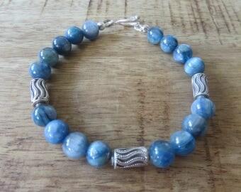 Blue bracelet, blue Kyanite bracelet, semi precious stone bracelet, handmade Sterling Silver barrels, toggle clasp