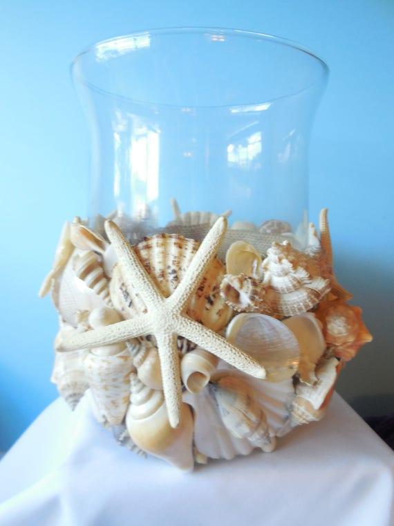 Sea Shell Candle Holder-Sea shell Glass Hurricane-Coastal Home