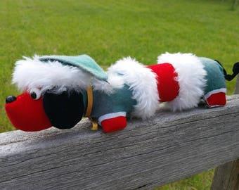 VTG Japan Christmas Plush Dachshund Wiener Dog Wood Stuffed