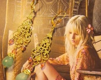 Sleeper earrings, chic Bohemians, gypsies, jade OOAK