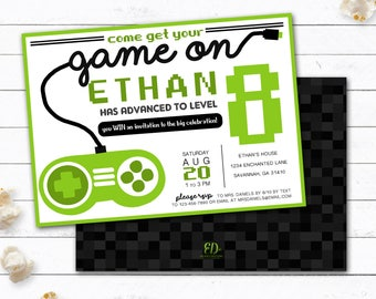 VIDEO GAME Birthday Party Invitation Gamer Theme Invitation - Birthday invitation video