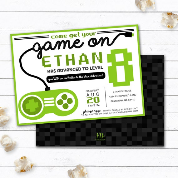 like this item - Video Game Party Invitations