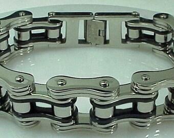 Chain Bracelet Black Silver Heavy Metal Skull Bones Harley Bible Bad Apple