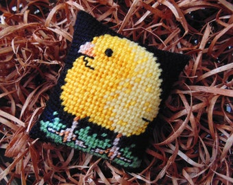 Easter Chick, Spring Chick, Easter Basket Stuffer, Baby Gift, Farmhouse Gift, Easter Gift,  Needlepoint Chick, Chicken Art