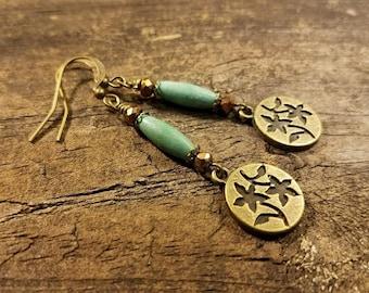Floral Earrings, Bronze Earrings, Turquoise Earrings, Dangle Earrings