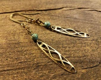 Bronze Earrings, Boho Earrings, Metal Earrings, Geometric Earrings