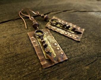 Copper Earrings, Metal Earrings, Boho Earrings