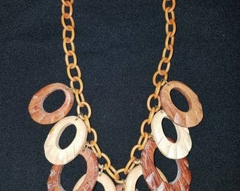 1930's Schiaparelli? Style Celluloid And Carved Wood Necklace...