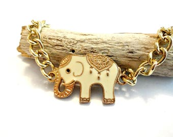 Good Luck Elephant Bracelet, Elephant Jewelry, Elephant Gift, Gift for Her, Gold Tone Chain Link Bracelet, Cool Bracelet, Cool Jewelry