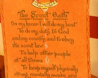 Vintage 1950 Era Boy Scout Oath on Leather