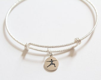 Sterling Silver Bracelet with Sterling Silver Warrior Yoga Pose Charm, Yoga Bracelet, Yoga Pose Bracelet, Yoga Charm Bracelet, Yoga Warrior