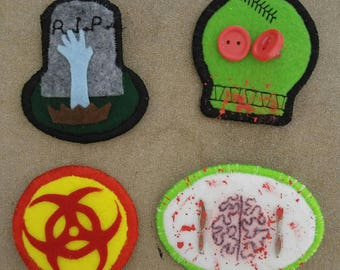 Spoopy Halloween Zombie Badges Pins Buttons Patches - set of 4 Spooky