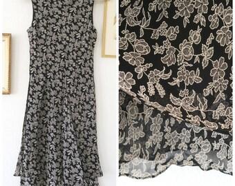 SALE//////90s Black Grunge Dress Long Floral Dress minimalist medium dress 90s dress