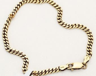 Gold Wash 925 Sterling Silver Chain Bracelet 7.5""