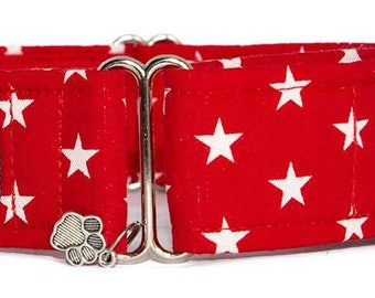 "Noddy & Sweets Adjustable Martingale Collar [1"", 1.5"", 2"" Stars Red v2]"