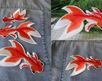Accessory iron patch fish goldgish japanse koi XXL clothes jean embroidered