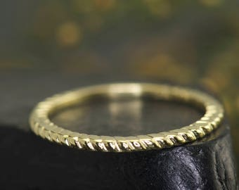 Thin Rope Ring in 14k Yellow Gold, Rope Design, Petite Twisted Vine Design, 1.2mm Wide, 3/4 Eternity, Stackable Design, Kedy