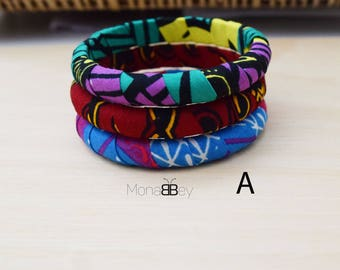 3 African bracelets, African fabric bracelets, textile bangles, african jewelry, fabric jewellery, birthday gift, christmas gift