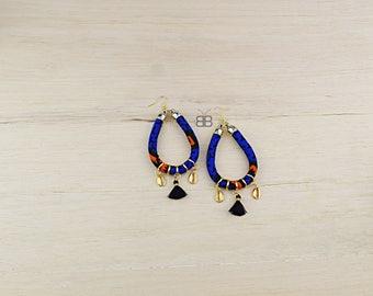 Deola African earrings, bijoux wax, bijoux africains, tissu wax, african fabric earrings for women, african jewelry, bijoux afro, wax print