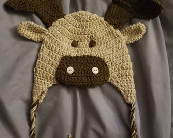Crochet Moose Hat