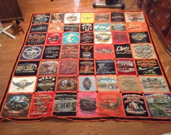 T-shirt Memory Quilts (YOU SUPPLY SHIRTS), Harley Davidson Theme Quilts, Sports Team Memory Quilts (Standard Block)