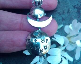 Star Seed Moon Pendant. Handmade Sterling Silver Moonstone Pendant. Free Spirited Moon Child, Gypsy Boho.