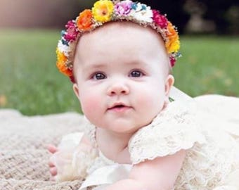 Baby Flower Crown,  Flower Girl Flower Crown, Floral Headband, Baby's Breath Flower Crown, Baby Photo Shoot Flower Crown, Boho Flower Girl