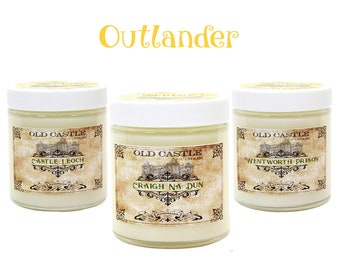 Handmade Soy Candles Outlander Set Book Candles Literary Gifts 3 x 4oz Scented All White Candles
